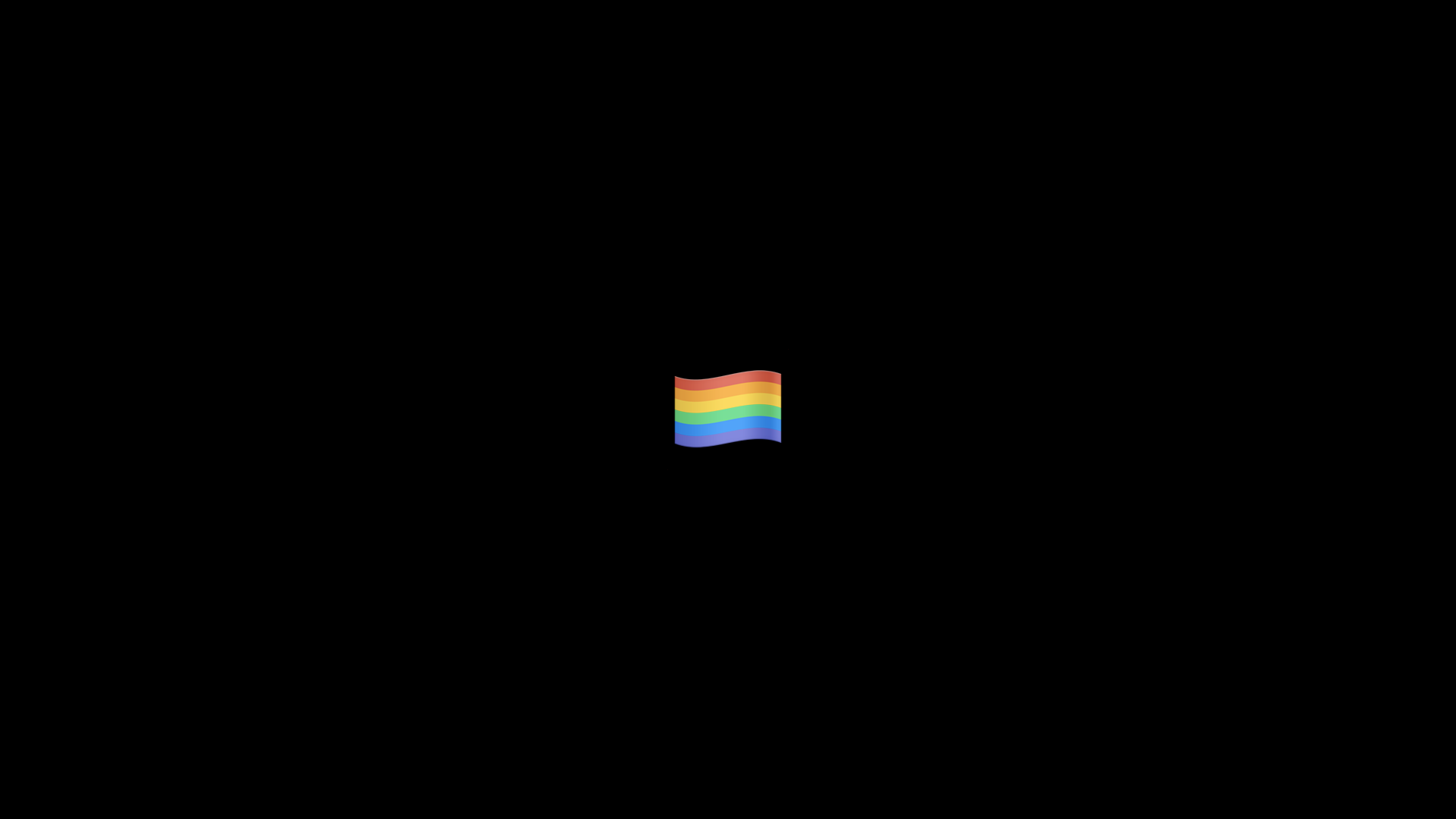 Rainbow flag on a black field